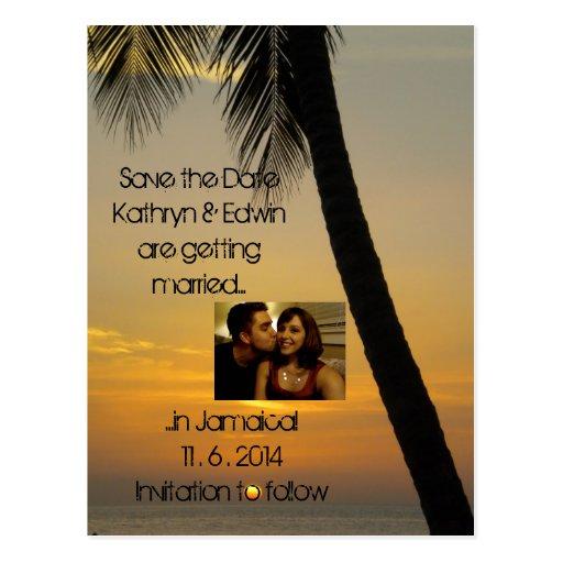 tropical destination wedding save the date postcard zazzle