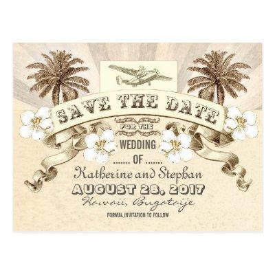 beach palms vintage boarding pass save the date postcard Zazzle