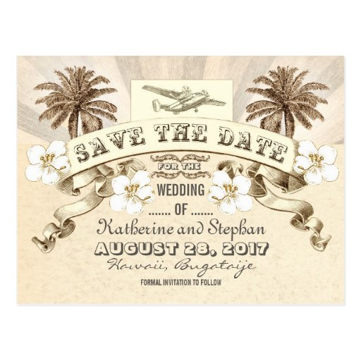 tropical destination wedding save the date post card
