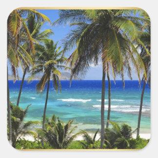 Tropical Destination Wedding Sticker Square