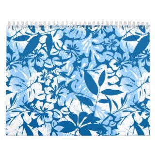 Tropical distressed blue floral calendar