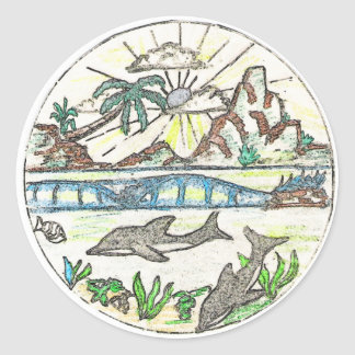 Tropical Dolphins Classic Round Sticker