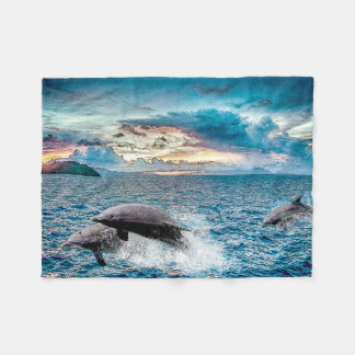 Tropical Dolphins Fleece Blanket