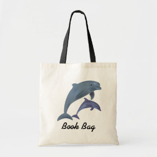 Tropical dolphins jumping book bag