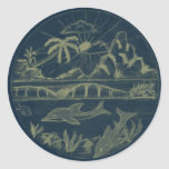Tropical Dolphins Round Stickers