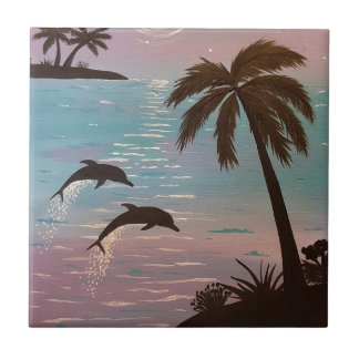 Tropical dolphins tile