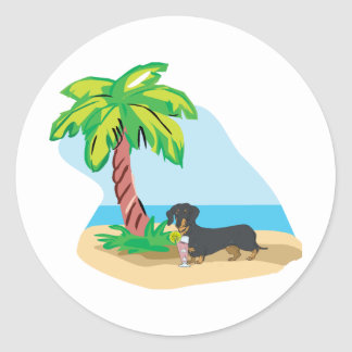 Tropical Doxie Classic Round Sticker