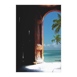 Tropical Dream Door Canvas Stretched Canvas Print