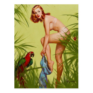 Tropical Dressing Pin Up Postcard