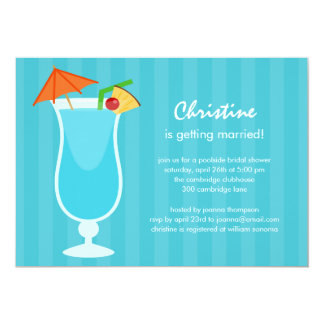 """Tropical Drink Bridal Shower or Bachelorette Party 5"""" X 7"""" Invitation Card"""