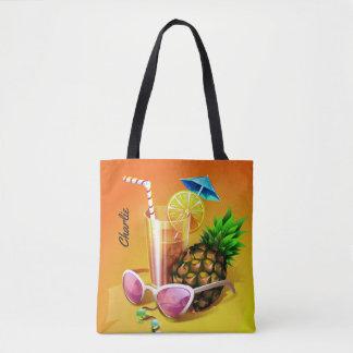 Tropical Drink optional custom name bags