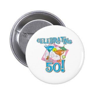 Tropical Drinks Celebrating 50 2 Inch Round Button