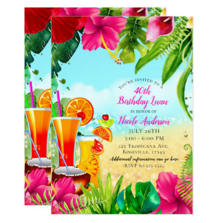 Tropical Drinks & Flowers Summer Birthday Party Card
