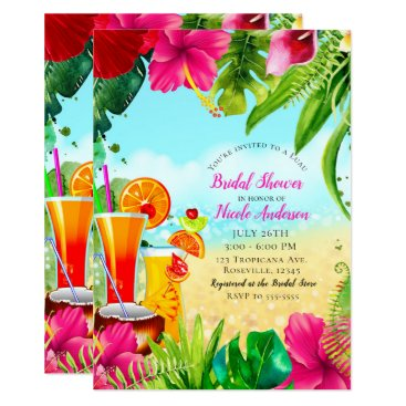 Beach Themed Tropical Drinks & Flowers Summer Bridal Shower Card