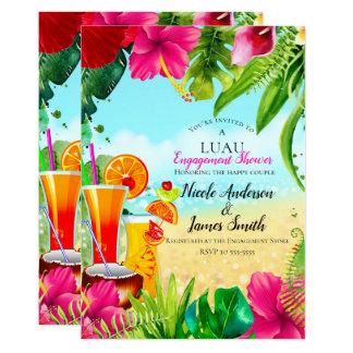 Tropical Drinks & Flowers Summer Luau Engagement Card