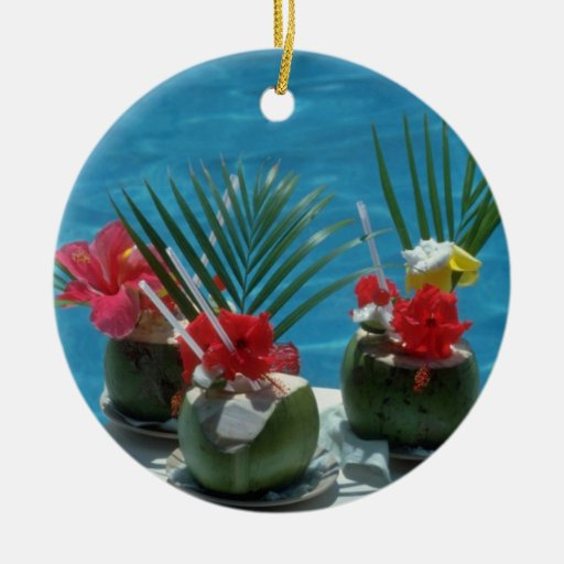 Tropical drinks, Hawaii flowers Double-Sided Ceramic Round Christmas Ornament