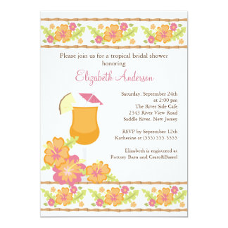 Tropical Drinks Hibiscus Flowers Bridal Shower Personalized Invite