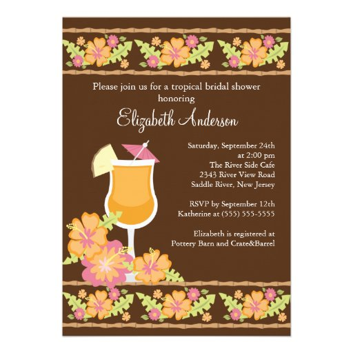 Tropical Drinks Hibiscus Flowers Bridal Shower Custom Announcements