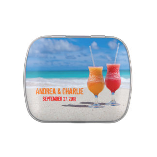 Tropical Drinks on The Beach Wedding Favor Tins Jelly Belly Candy Tins