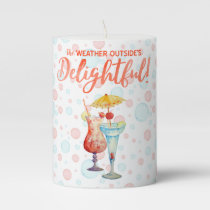 Tropical Drinks Watercolor Teal Bubbles & Baubles Pillar Candle