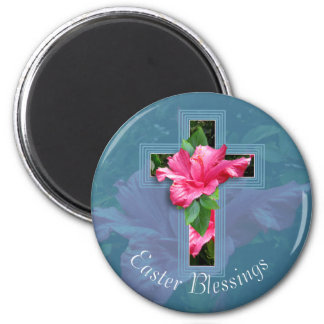 Tropical Easter Cross and Blessings Magnet