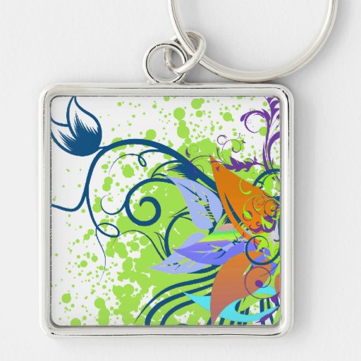 tropical elegance vector design Silver-Colored square keychain