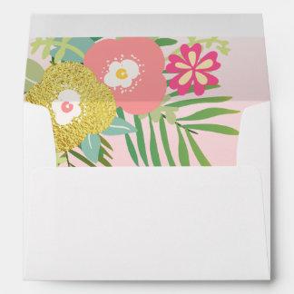 Tropical Envelope Girl Birthday Pink Gold Floral