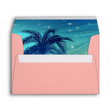 Beach Themed Tropical Envelope Liner Teal Blue Peach Palm Trees