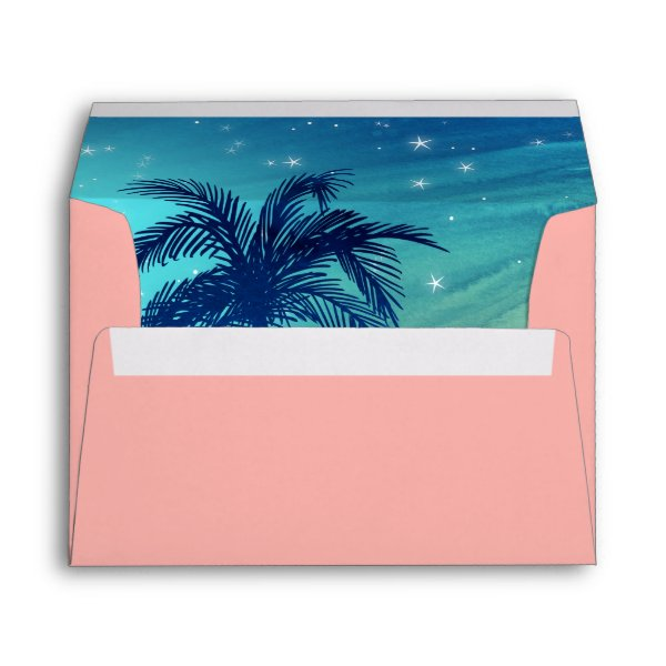 Tropical Envelope Liner Teal Blue Peach Palm Trees