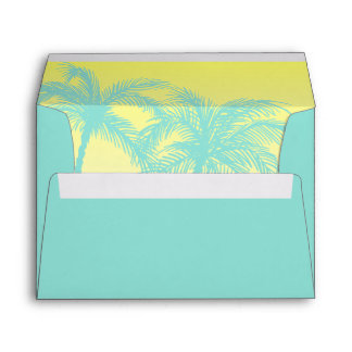 Tropical Envelope Liner | Teal Blue Yellow Palm