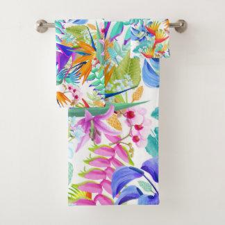 Tropical Exotic Flowers Bath Towel Set