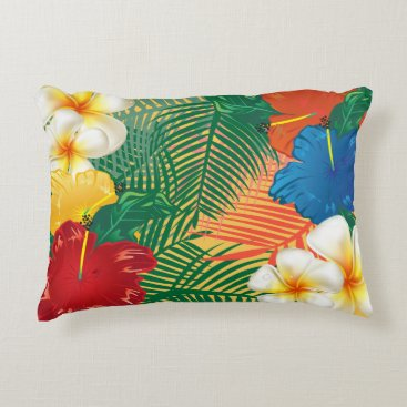 Beach Themed Tropical Exotic Flowers Decorative Pillow