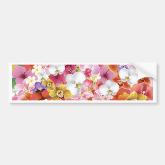 Tropical Exotic Flowers Print Floral Design Bumper Sticker