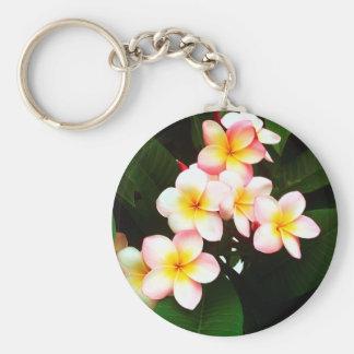 Tropical Exotic Frangipani Flower Keychain