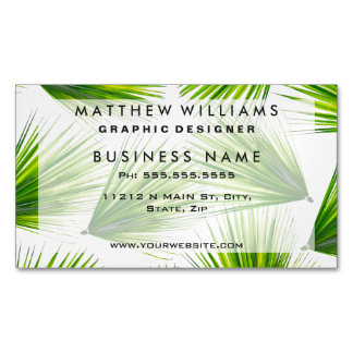 Tropical Exotic Hawaiian Palm Fronds Magnetic Business Card