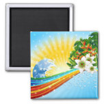 Tropical Exotic Summer Holidays 2 Inch Square Magnet