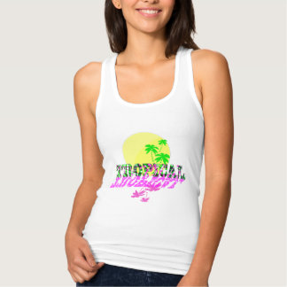 Tropical Exotic Sunshine Summery Text Graphic Tank Top