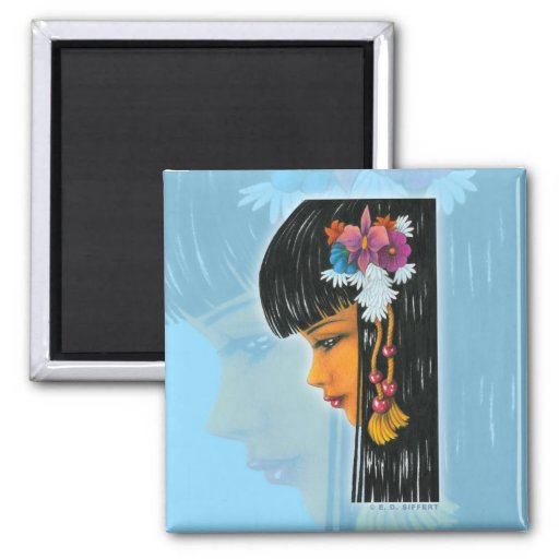 Tropical Faerie 2 Inch Square Magnet