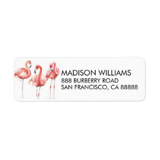 Tropical | Family of Flamingos Label