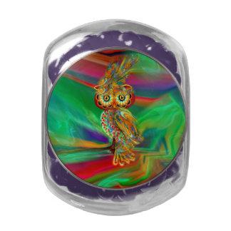 Tropical Fashion Queen Owl Candy Glas Jar Jelly Belly Candy Jar