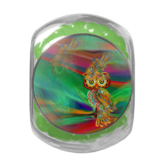 Tropical Fashion Queen Owl Candy Glas Jar Jelly Belly Candy Jars