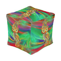 Tropical Fashion Queen Owl Cube Pouf