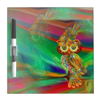 Tropical Fashion Queen Owl Dry Erase Board