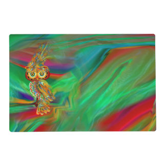 Tropical Fashion Queen Owl Laminated Placemat