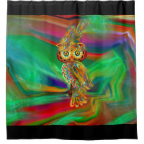 Tropical Fashion Queen Owl Shower Curtain
