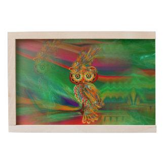 Tropical Fashion Queen Owl Wooden Keepsake Box