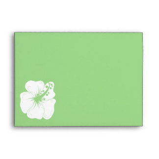 Tropical Feijoa Green and White Hibiscus Wedding Envelope