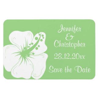 Tropical Feijoa Green and White Hibiscus Wedding Rectangular Photo Magnet