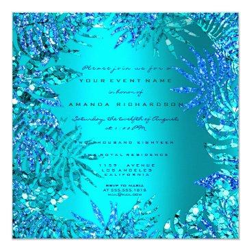 Beach Themed Tropical Fern Beach Ocean Blue Turquoise Glitter Card