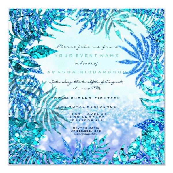 Tropical Fern Leaf Beach Ocean Blue Indigo Glitter Card
